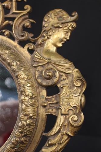 Very fine brass dresser mirror with ladies - 2