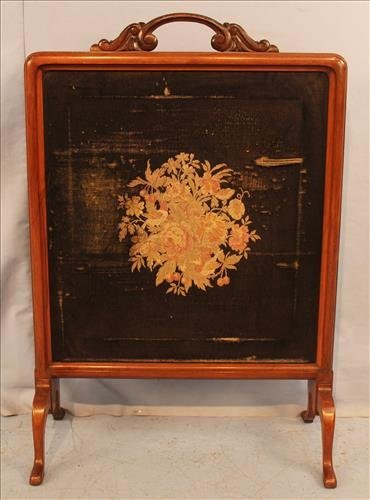 Walnut Victorian fire screen with needlepoint