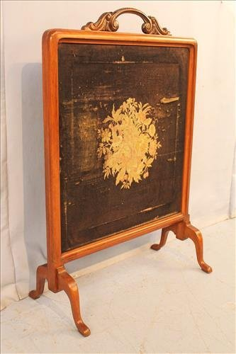 Walnut Victorian fire screen with needlepoint - 2