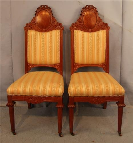 Pair mahogany occasional chairs with new upholstery