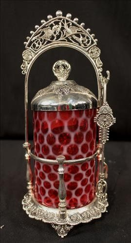 Silver-plate Victorian pickle castor with insert