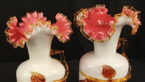 Pair art glass fluted vases, Stevens and Williams, - 2