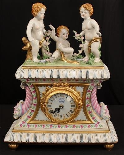 Porcelain figural contemporary clock