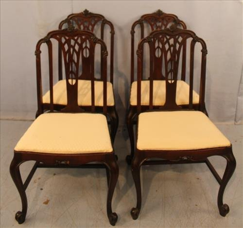 Set of 4 mahogany Queen ann dining room chairs