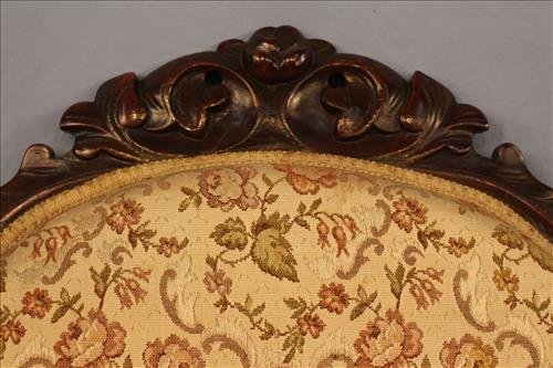 Walnut Victorian loveseat with floral upholstery - 2