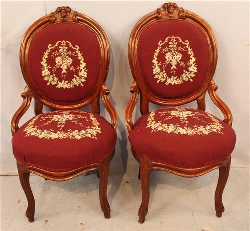 Pair walnut Victorian needlepoint hip rest chairs