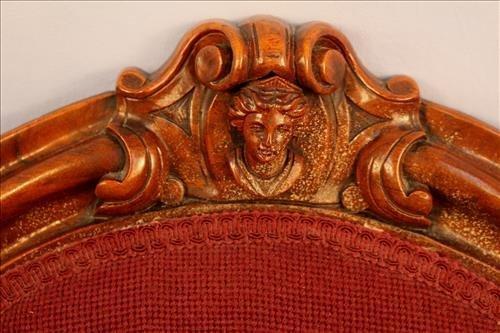 Pair walnut Victorian needlepoint hip rest chairs - 2