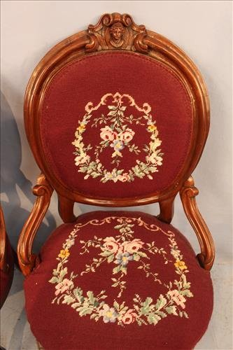 Pair walnut Victorian needlepoint hip rest chairs - 3