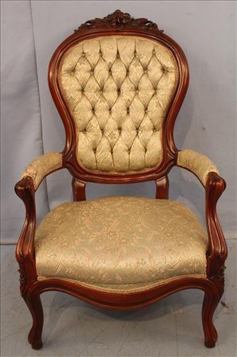 Walnut Victorian gentlemen's parlor chair with good