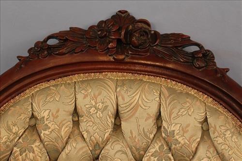 Walnut Victorian gentlemen's parlor chair with good - 2