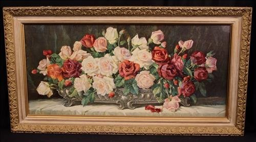 Victorian print of yard roses in gold frame, 35 x 18