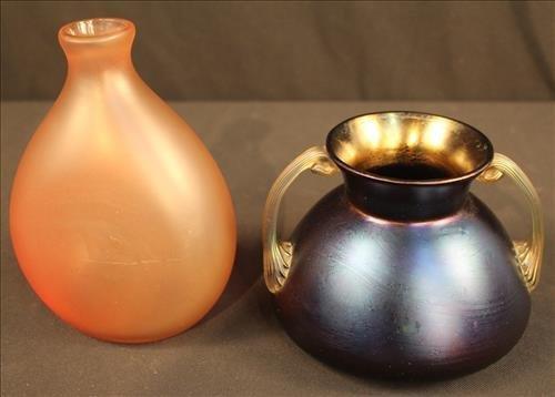 2 piece art glass vase, possibly Lotz