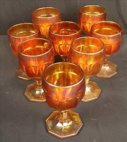 Set of 8 carnival stem glasses, 5.5 in. T.
