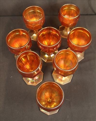 Set of 8 carnival stem glasses, 5.5 in. T. - 2