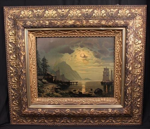 Victorian print of moon light over harbor, 33 x 28