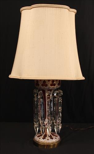 Victorian cranberry luster made into a lamp, 27 in. T,