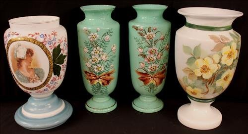 Pair mint green Bristol vases with painted flowers