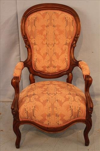 Walnut Victorian finger carved parlor chair