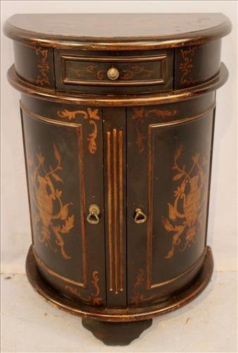 Black lacquer half commode with inlay