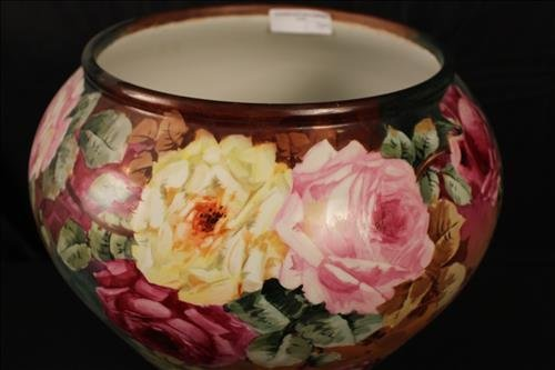 T.B. Limoges 2 piece hand painted bowl on stand - 2