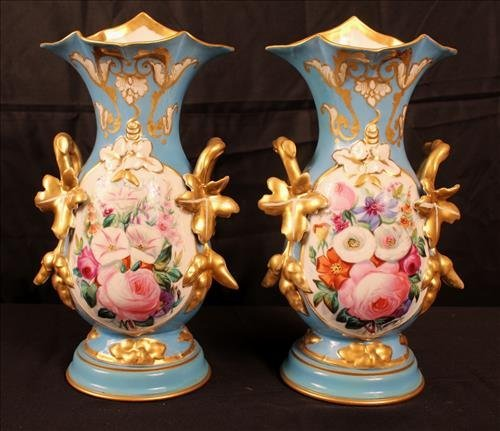 Pair old Paris vases, blue with roses once lamps
