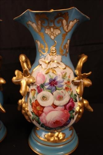 Pair old Paris vases, blue with roses once lamps - 2