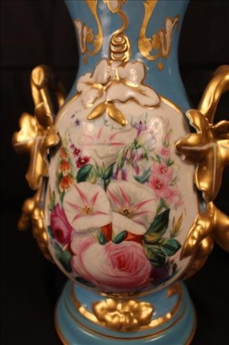 Pair old Paris vases, blue with roses once lamps - 3