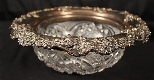 Brilliant cut glass bowl with sterling rim with acorns