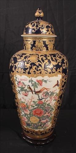 Chinese hand painted capped urn