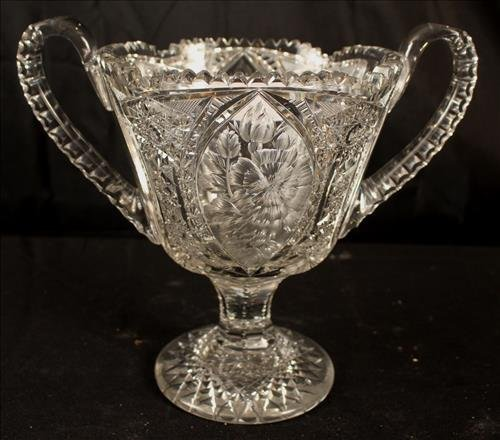 Brilliant cut glass trophy vase, 13 in. T, 13 in. H-H