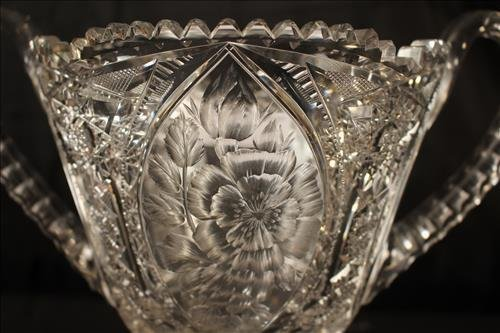 Brilliant cut glass trophy vase, 13 in. T, 13 in. H-H - 2
