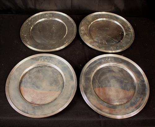 8 piece sterling silver chargers engraved MLSH