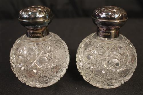 Pair perfume bottles, 4.5 in., T