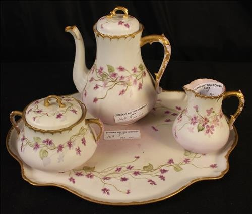 4 piece set china, porcelain tea set signed
