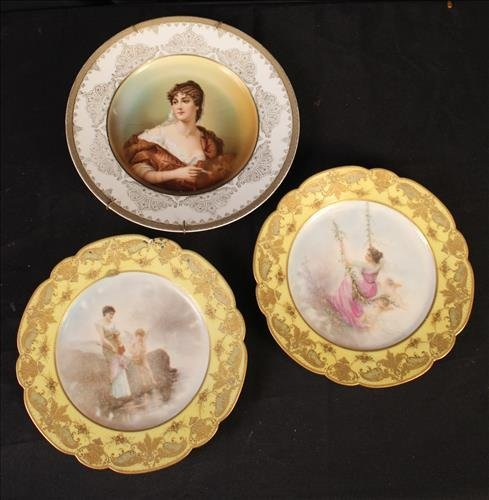 3 piece hand painted plates, 1 Rosenthal, 2 Sevres