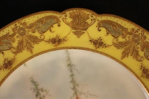 3 piece hand painted plates, 1 Rosenthal, 2 Sevres - 3