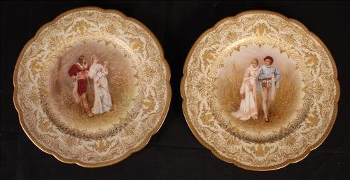 Pair hand painted porcelain plates with royal scene
