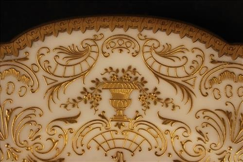 Pair hand painted porcelain plates with royal scene - 4