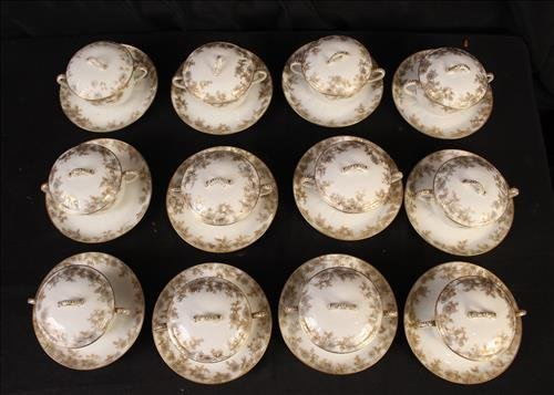24 piece set Limoges bowls with under plate - 2
