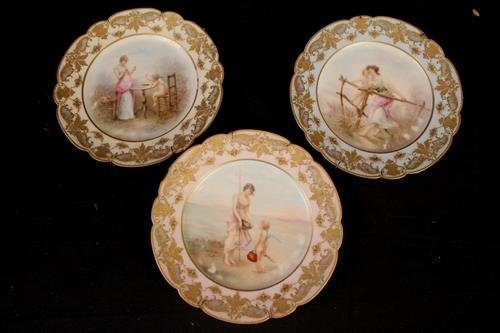 Set of 3 Limoges hand painted plates, 9 in. Dia.