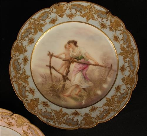 Set of 3 Limoges hand painted plates, 9 in. Dia. - 2