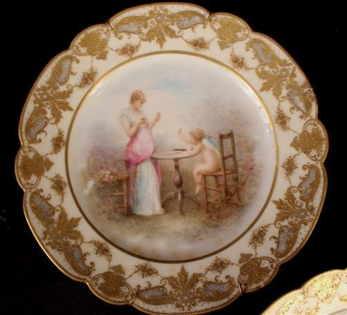 Set of 3 Limoges hand painted plates, 9 in. Dia. - 3