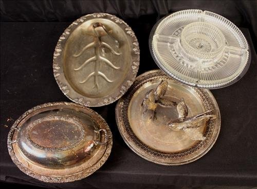 6 piece silver-plate serving trays and miscellaneous