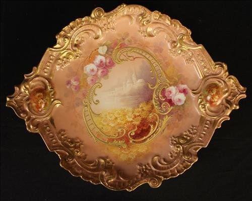 Hand painted Limoges tray, artist signed