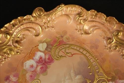 Hand painted Limoges tray, artist signed - 2