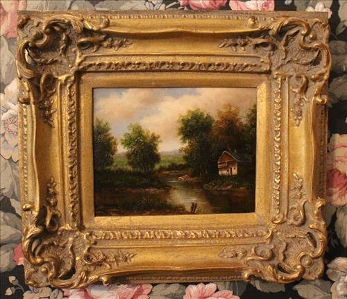 Oil on canvas of cabin scene signed Beger