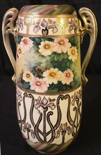 Hand painted Nippon vase with handles, 12.5 in. T.