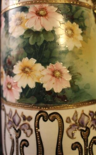 Hand painted Nippon vase with handles, 12.5 in. T. - 2