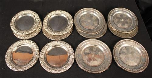 2 sets of 6 sterling silver serving trays
