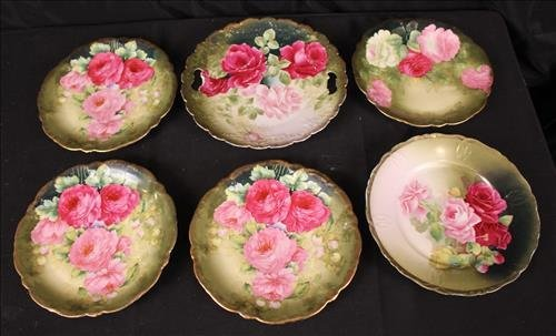 7 piece hand painted plates with flowers and gold